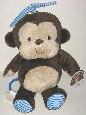 NEW Carters Child of Mine Musical Monkey Brown Tan Blue Stripe Plush Crib Toy