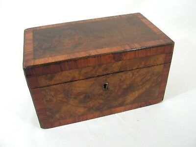 Antique English Burr Walnut Victorian Two Divisional Tea Caddy
