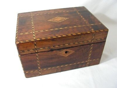 Antique Victorian Walnut Jewellery Sewing Box For Restoration Marquetry Inlay