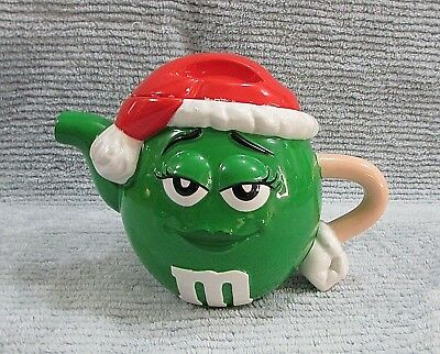Old Galerie Christmas Green Miss Lady M&M Ceramic Teapot Red Santa Hat FREE S/H