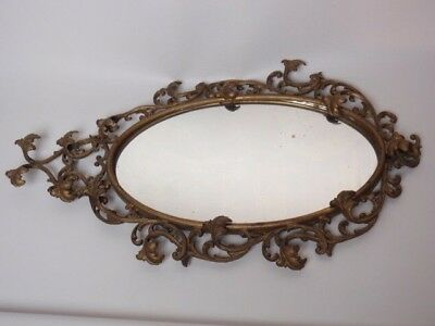 """Antique Ormolu Frame Wall Mirror Scroll Acanthus Leaves Oval Gold Patina 17"""""""