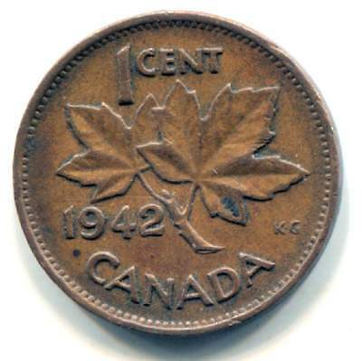 1942 Canadian 1 Cent Maple Leaf Penny Coin - Canada - King George VI