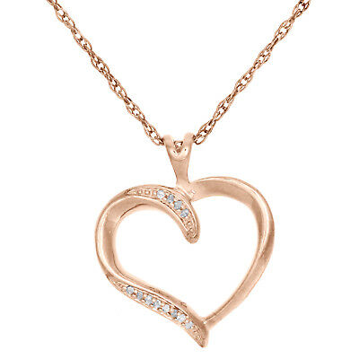 """Diamond Heart Pendant .925 Sterling Silver Rose Finish Necklace w/ 18"""" Chain"""