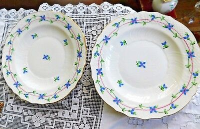 Set of 2 HEREND BLUE GARLAND Salad or Dessert PLATES Hungary PERFECT CONDITION