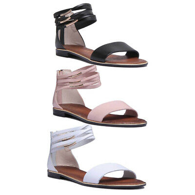 Justin Reece Womens Ladies All Leather Flat Comfort Sandal Ankle Strap Size UK 3