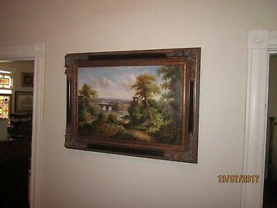 late 19th Century / early 20th Century Landscape, oil on canvas, gothic frame