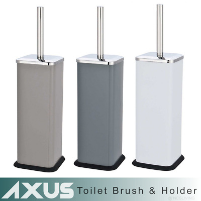 Axus Modern Square Chrome Toilet Brush & Holder WC Free Standing Stainless Steel