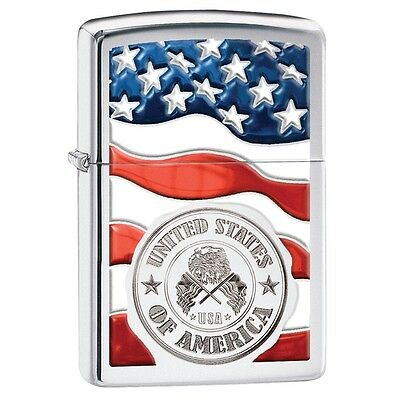 "Zippo ""United States of America-Flag"" High Polish Chrome Lighter, 29395"