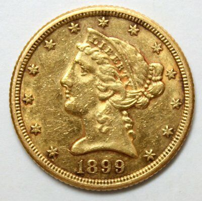1899-S $5 Liberty Head Gold Coin * Half Eagle * Cool Old Gold * FREE SHIPPING