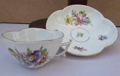 Exquisite Antique 19thC Dresden Porcelain Cup and Saucer - Hand Painted
