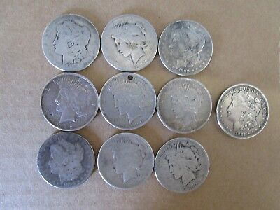 90% silver dollars, 10 pieces, Morgan, Peace, various dates, culls, junk