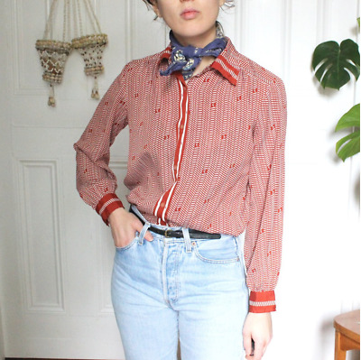 Vintage French 100% Silk Button Down Shirt/Blouse Rust Red Ivory 6 8 XS S Rouje