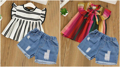 New Cute 2pcs Set Lace Top Casual Outfit Jeans Girls Summer Party Kids Clothes