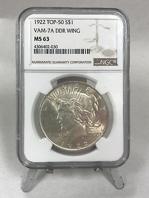1922 Peace Dollar VAM-7A DDR Wing NGC MS63