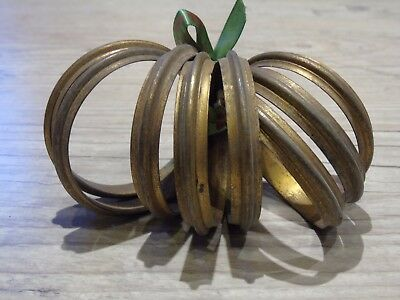 French Vintage Curtain Rings Heavy Bronze Gilt Metal Large Size Estate Find X8