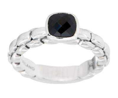 Jai Sterling Silver 1.00 Ct Black Spinel Box Chain Ring Size 7 Qvc $99.00
