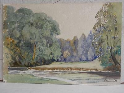 really old PAINTING RIVER landscape SIGNED