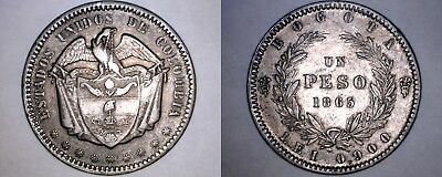 1865 Colombian 1 Peso World Silver Coin - Colombia - KM#139.1