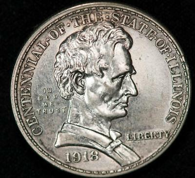 1918 Centennial of The State of Illinois Silver Commemorative Item#T9182