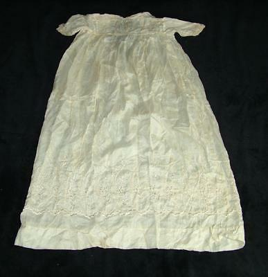 "ANTIQUE 19th CENTURY 32"" EMBROIDERED FINE SILK CHRISTENING GOWN / DRESS"