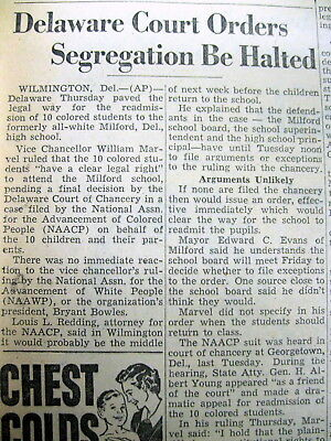 1954 newspaper DE ordered to END SCHOOL RACIAL SEGREGATION in MILFORD Delaware