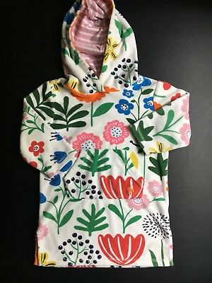 MINI BODEN Girls Pink White Floral Hooded Terry Cloth Swim Cover-Up 2-3 years