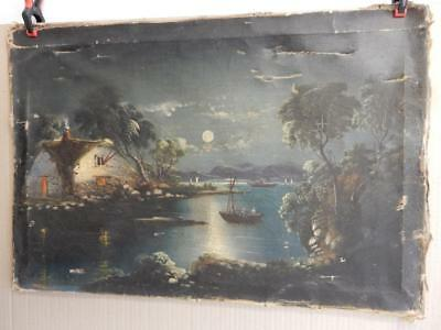 really old PAINTING oil canvas for sea scape