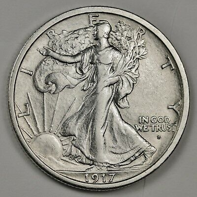 1917-d Walking Liberty Half.  Obverse.  A.U.  125772