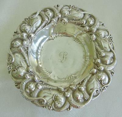 """Antique Whiting Sterling Silver Lily of the Valley 5"""" Bon Bon Dish Bowl Engraved"""