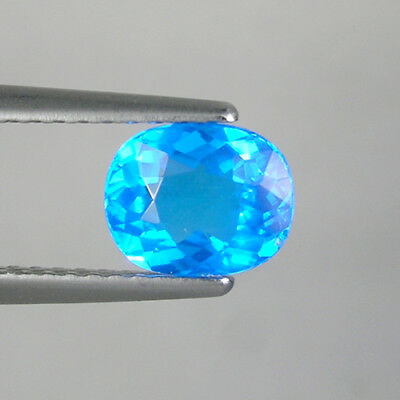 0.96 cts ULTRA RARE  _ NEON BLUE  NATURAL  APATITE - OVAL CUT  _  3795-