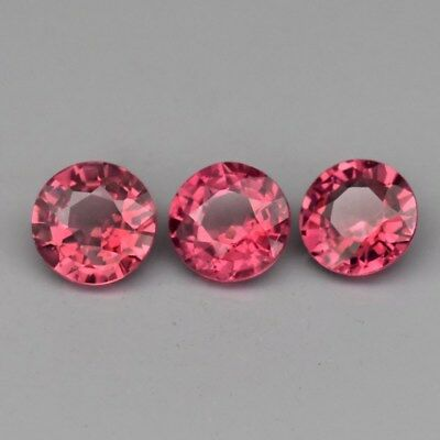 3pcs Lot 1.64ct t.w 4.8-5mm Round Natural Medium Pinkish Purple Rhodolite Garnet