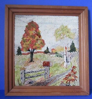 Beautiful Punch Needle Framed Autumn Scene