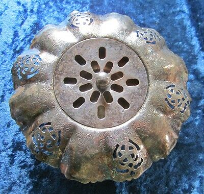 Silver Plate Over Copper Fancy Canadian Flower Frog