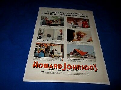 HOWARD JOHNSON'S MOTOR LODGES & RESTAURANTS-6 REASONS WHY-1960s ERA PRINT AD