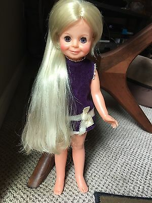 Vintage 1970 Crissy Doll Cousin Velvet Ec Original Dress Hair To Floor Grow
