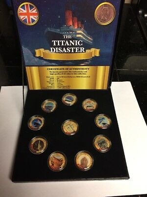 Great Britain 1/2 Penny 10 Pieces Coin Set, Bronze, 2013, Mint, Titanic Disaster