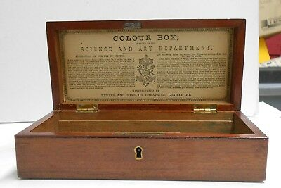 Reeves And Sons Victorian Mahogany Science & Art Department Reward Colour Box Vg