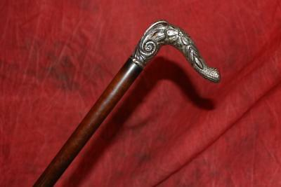 Breathtaking Victorian Sterling Silver Handled Cane W/Exotic Snake Wood Shaft