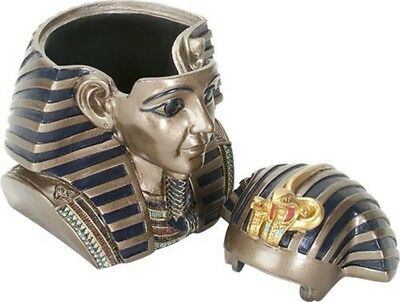 Ancient Egyptian Pharaoh King Tut Jewelery Trinket Box Storage Container Egypt