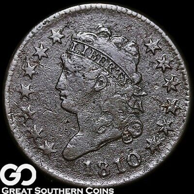 1810 Large Cent, Classic Head, Tough FINE+ Better Date Early Copper ** Free S/H!