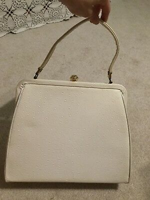 VINTAGE 1950s VERDI Ivory MAN MADE LEATHER HANDBAG BRASS ACCENTS MADE IN USA