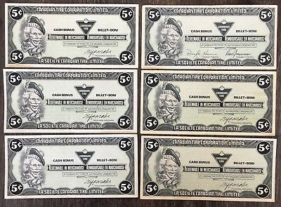 Lot of 6x 1985 Canadian Tire 5 Cents Notes ***Great Condition*** CTC-S6-B