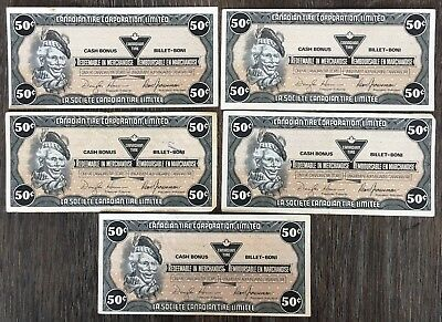 Lot of 5x 1989 Canadian Tire 50 Cents Notes ***Great Condition*** CTC-S13-E