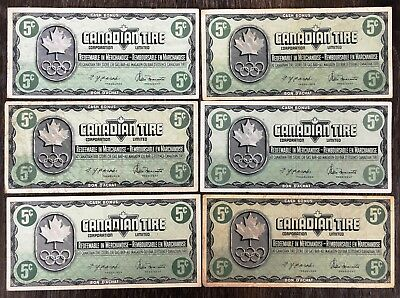 Lot of 6x 1976 Canadian Tire 5 Cents Notes - CTC-S5-B