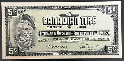 Vintage 1974 Canadian Tire 5 Cents Note ***Crisp Uncirculated*** CTC-S4-B-HN