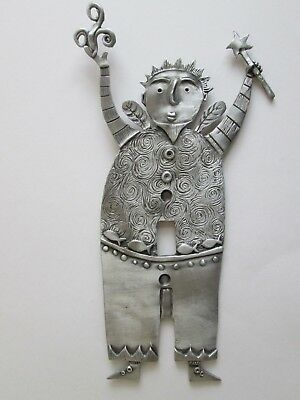 "Leandra Drumm Single Switchplate Sculpture Fish Large Pewter Signed 10 3/8"" New"