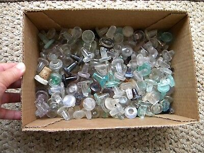 Vintage GLASS STOPPERS LOT - Whiskey Liquor Flask Glass Bottle Stoppers