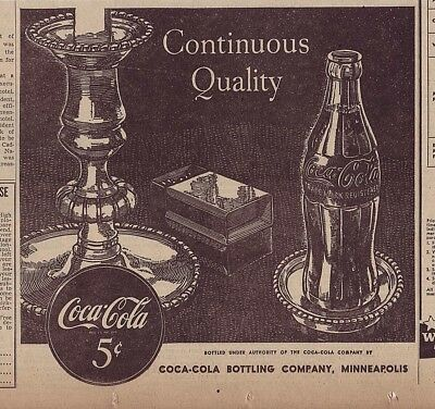 1947 newspaper ad for Coca-Cola - bottle of Coke, candlestick, matchbox, Quality