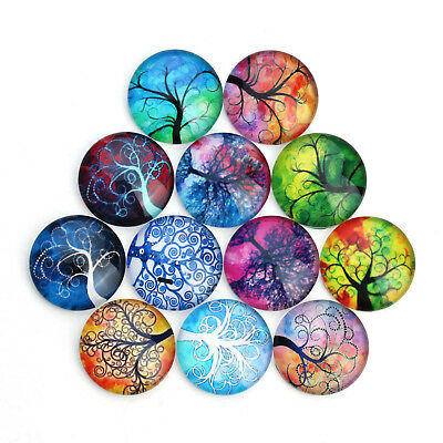 20pcs Round Glass Mixed Tree of Life Design Cameo Cabochon Flat Back 10-25 mm