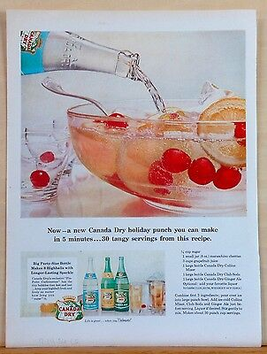 1956 magazine ad for Canada Dry - Christmas Holiday Punch recipe, make in 5 min
